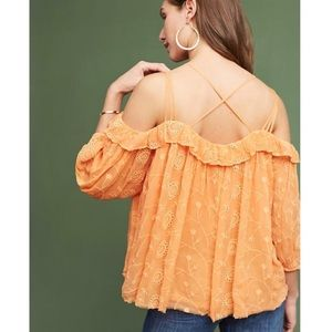 Anthro Floreat Embroidered Off The Shoulder Top